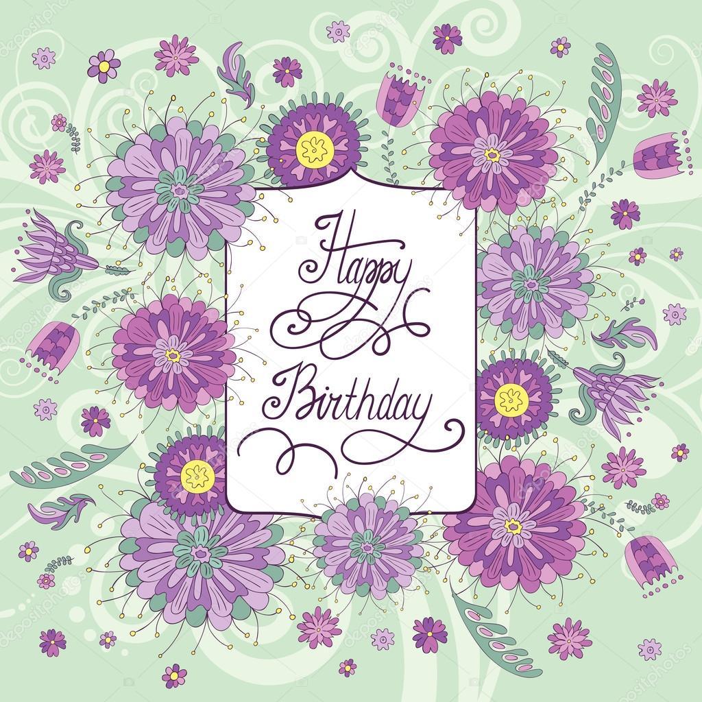 mooie verjaardagskaart met bloemen stockvector piyacler 52858751