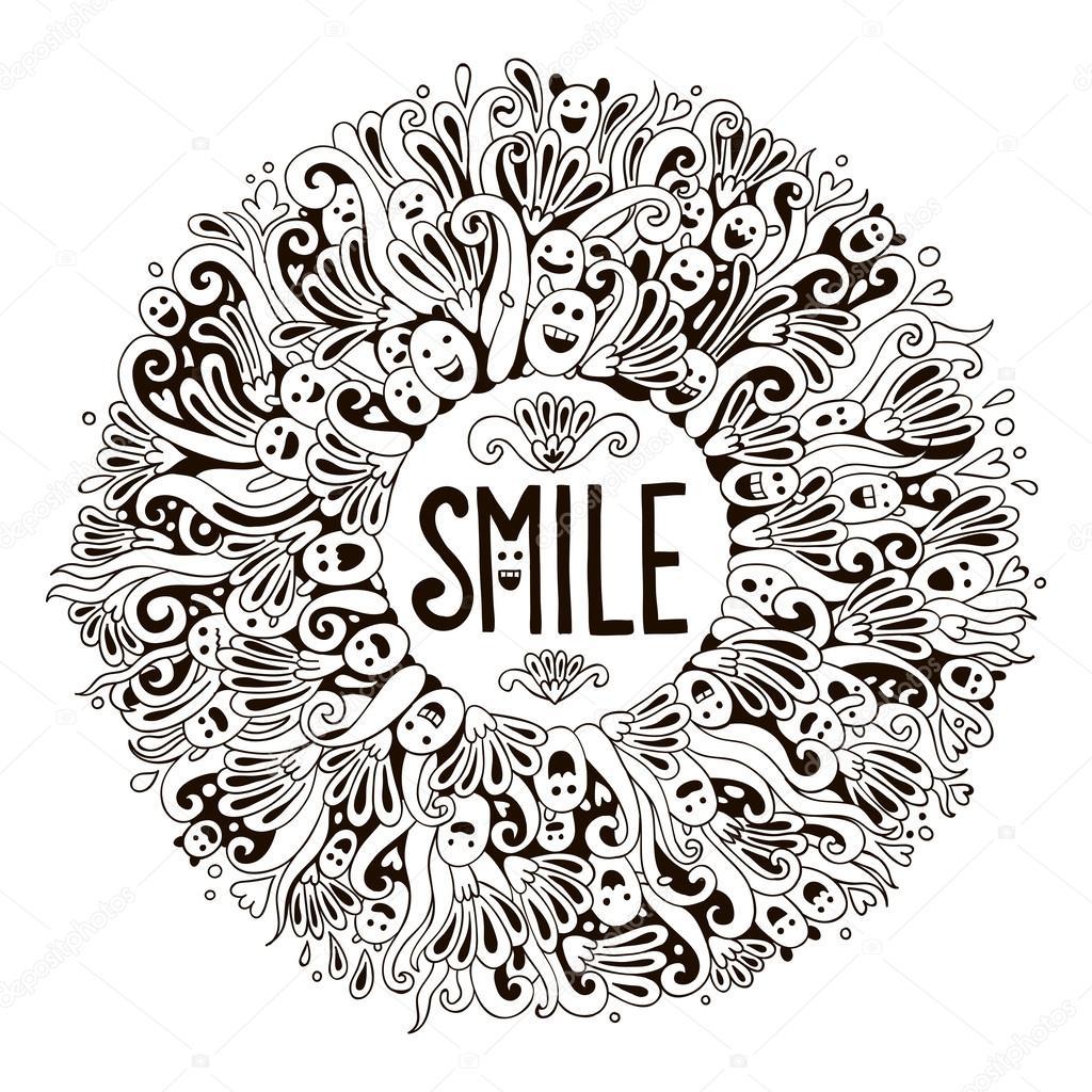 Vorlage für Einladung oder Postkarte mit Wort-Lächeln — Stockvektor ...
