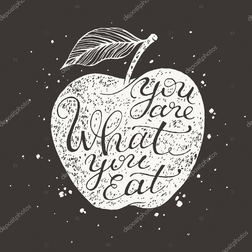 Retro Quote You Are What You Eat Stock Vector Piyacler 78240508