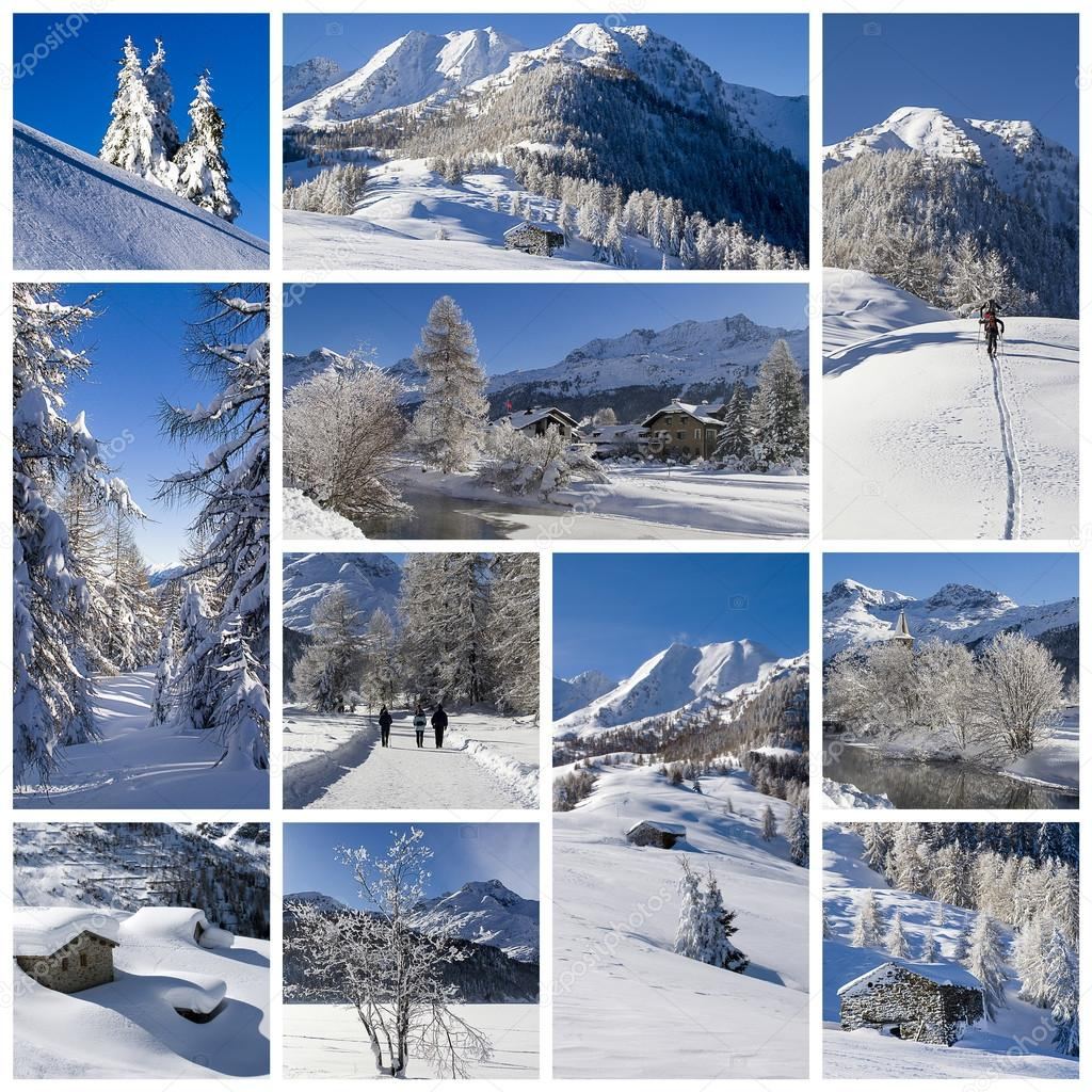 Winter landscape collage
