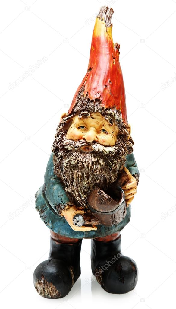 Superior Adorable Wooden Garden Gnome With Watering Can Standing. Isolated Over  White. U2014 Photo By Duplass