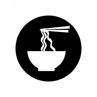 Bowl of ramen noodle silhouette icon vector. symbol for web flat design icon