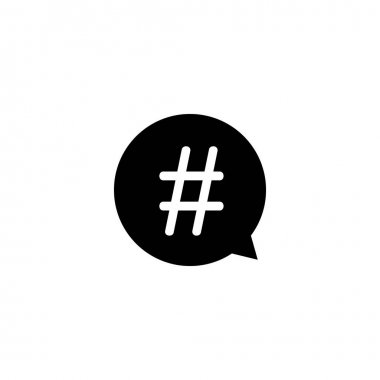 Hashtag in speech bubble icon vector. symbol for web flat design icon