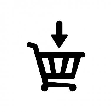 Down arrow on shopping basket icon. Graphic elements for your design icon