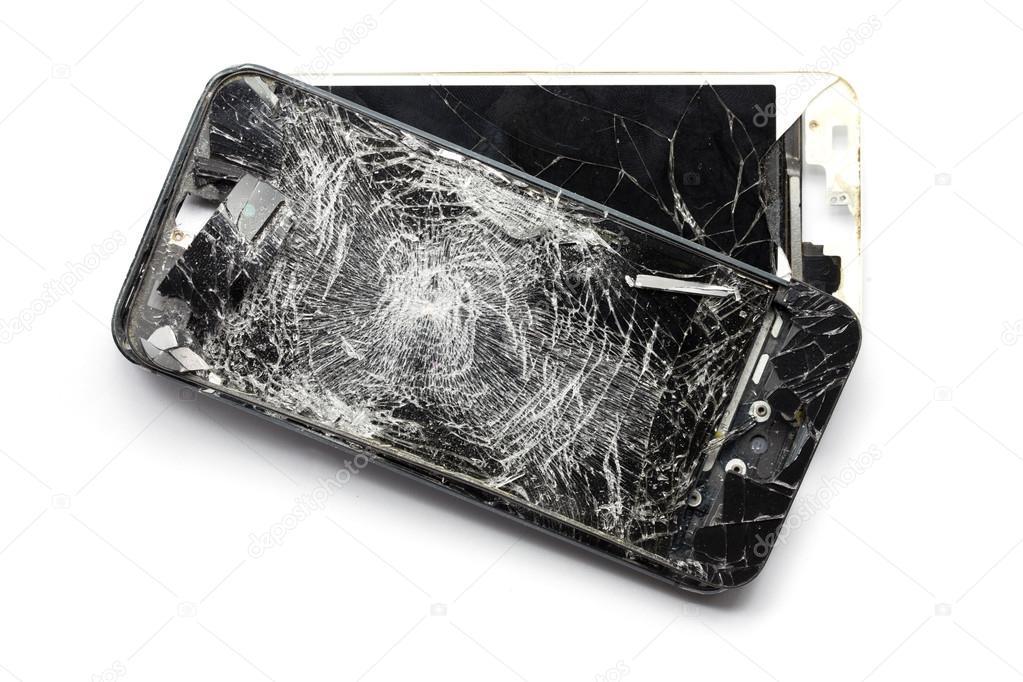 Cellulare Smartphone Con Schermo Rotto Isolato Su Sfondo Bianco