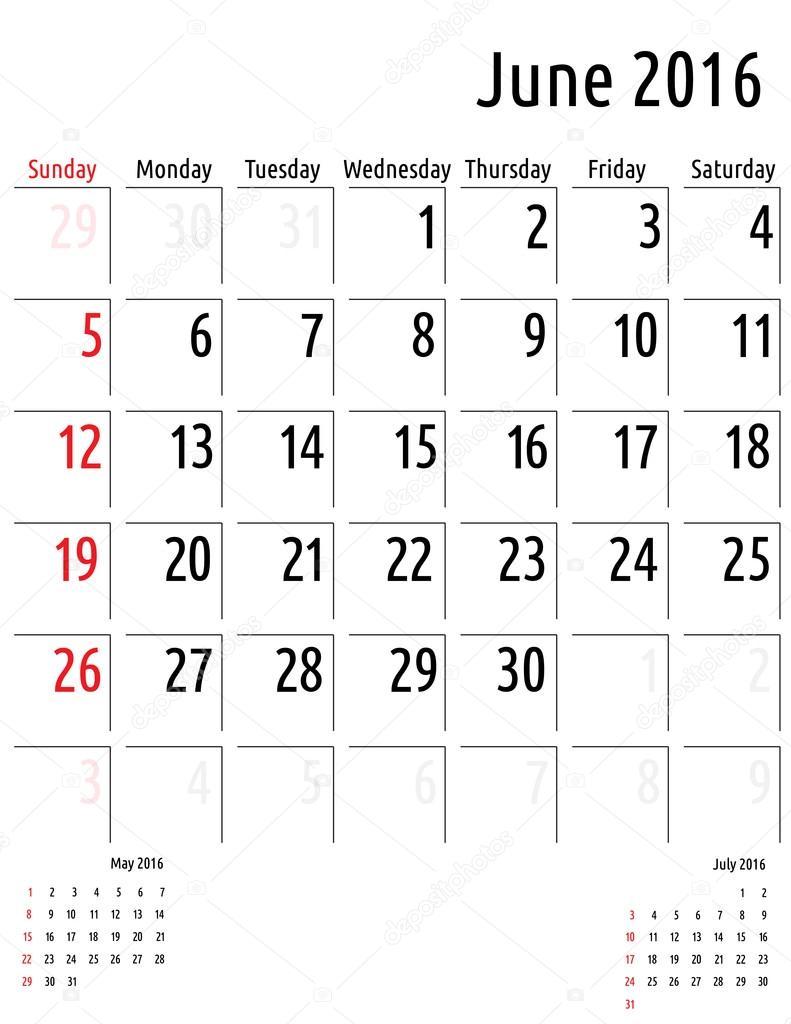 June Calendar Vector : Calendar june vector planning template