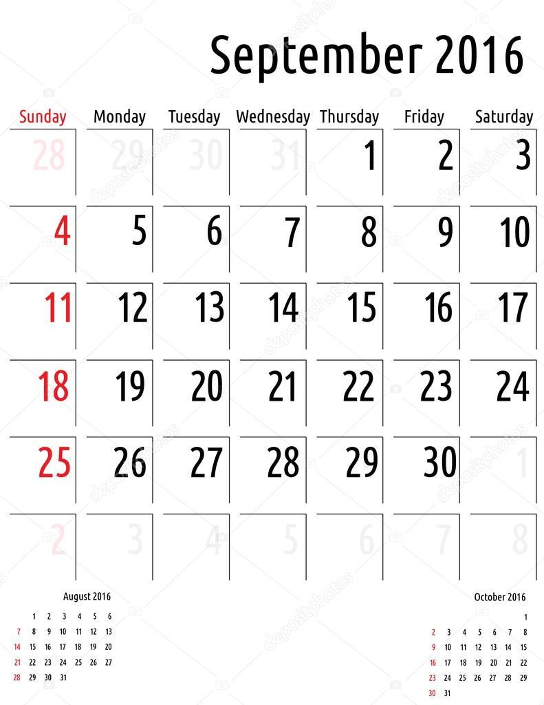 Calendario Settembre 2007.Calendario Settembre 2016 Progettazione Modello Di