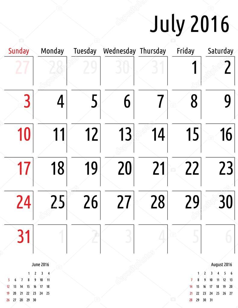 Calendario julio de 2016. Vector de plantilla de calendario de ...