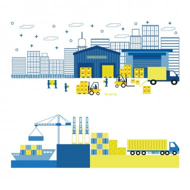 Cargo port equipment. Shipping. Flat vector illustration