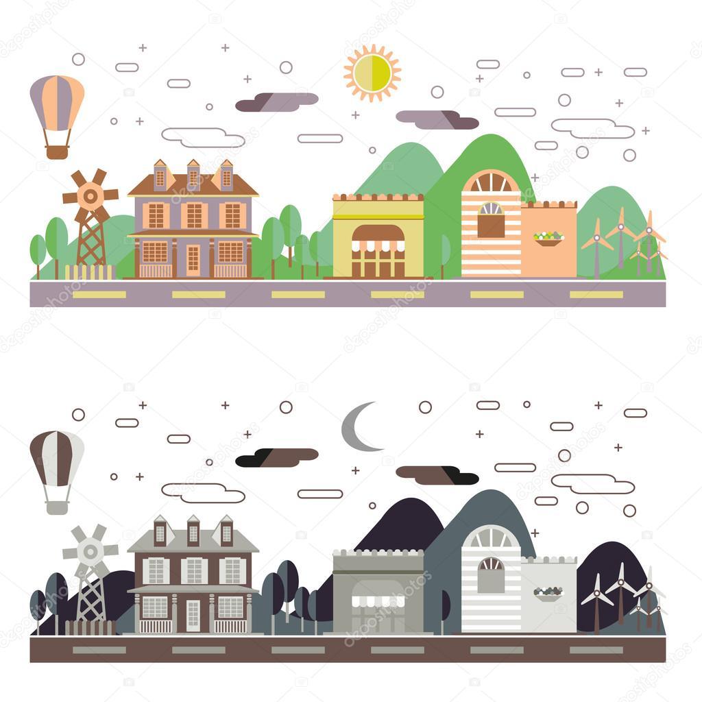 Landscape Design In A Day: Jour Et Nuit Paysage Ville Immobilier Flat Design Urbain