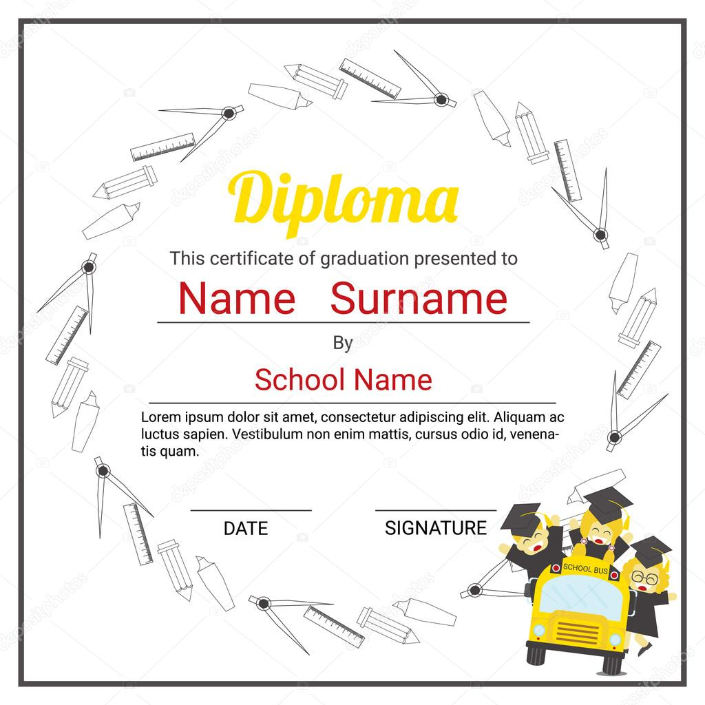 elementary school kids diploma certificate background design tem stock vector