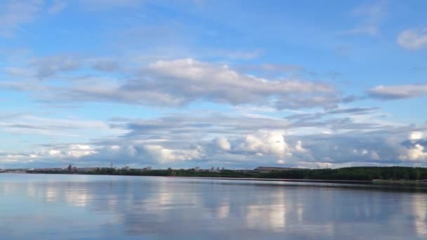 Calm bay of lake and sky pan