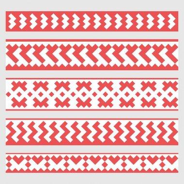 Patterns based on Khanty-Mansi Siberian folk ornaments set