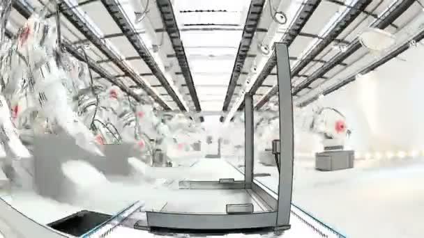 Braccio robotico montaggio stampante 3d su nastro trasportatore