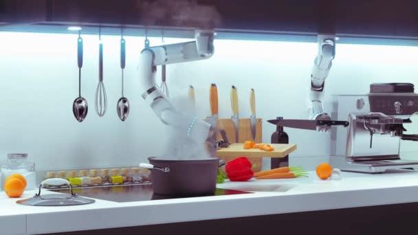 Automatický neurální inteligentní kuchyňský robot vyráběl jídlo. 4k 3D animace