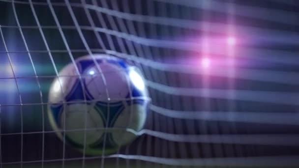 soccer ball breaking the net - slow motion