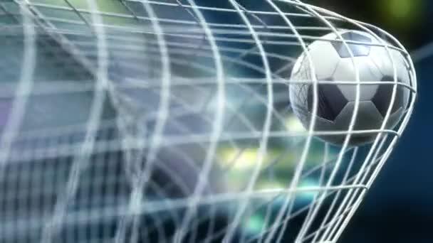 fotbal letí pomalu v gól proti noční obloze pozadí, 3d animace