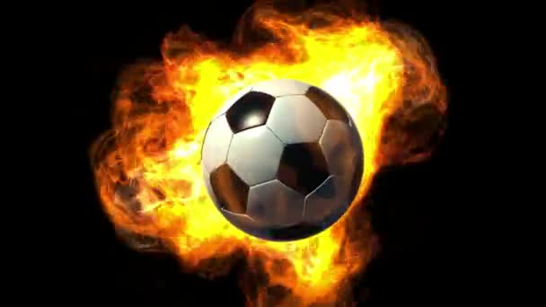 Animované fotbalový míč v plamenech