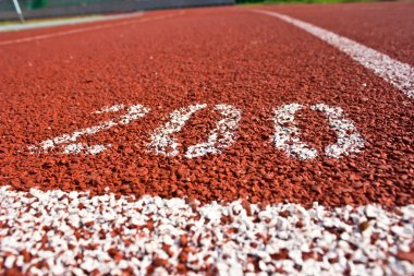 Close up running track rubber
