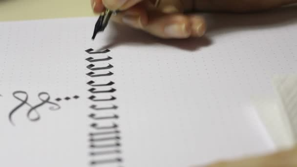 Writing Gothic Calligraphy Female Hand Writes With Ink Pen Stock Video