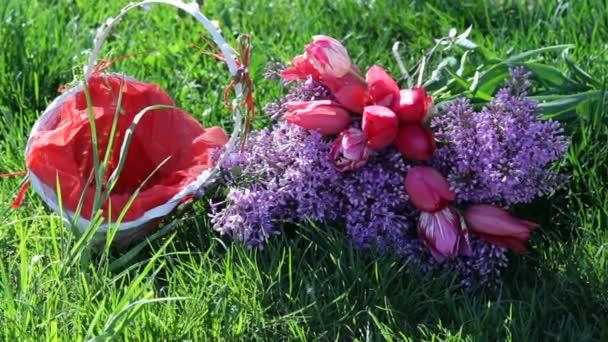 květy a Tulipán košík na pozadí zelené trávy