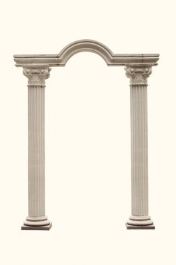 arch of the columns on a white background