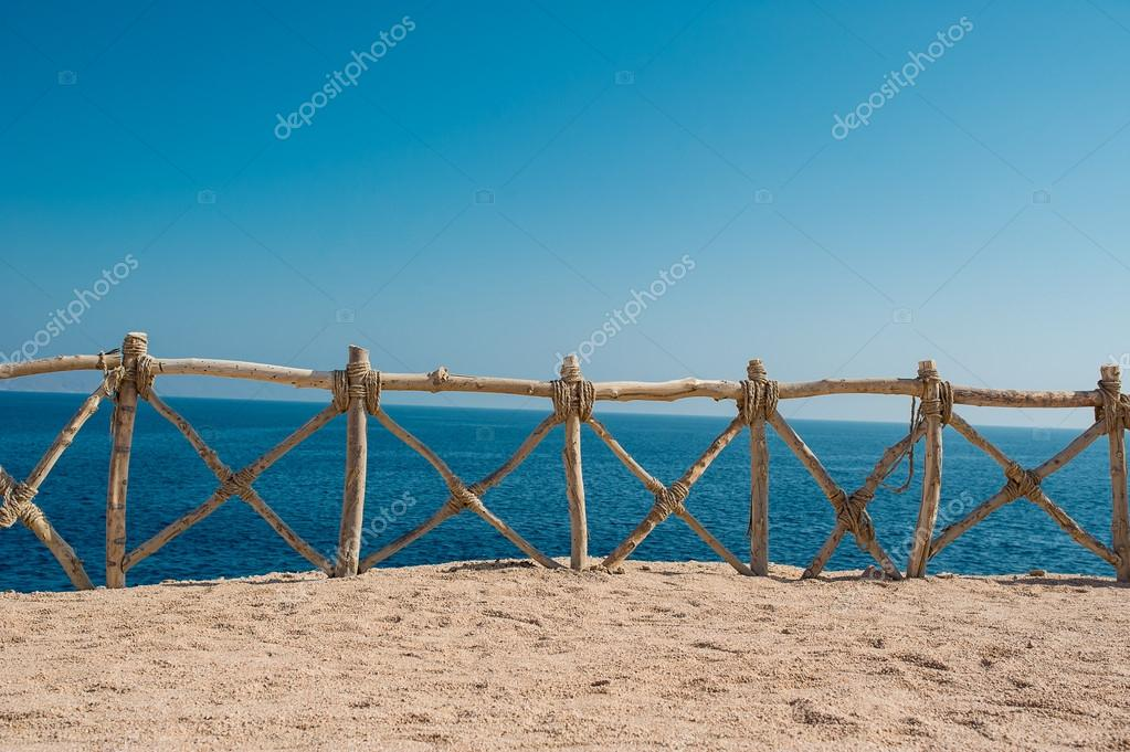 Sea views, protective wooden fence