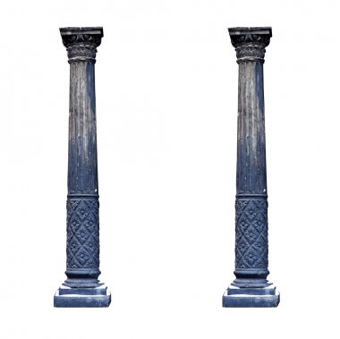 Black architectural columns isolated on white background