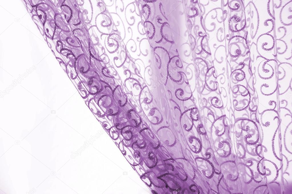 Purple Curtains On A White Background U2014 Stock Photo