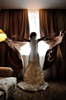 bride throwing her hands in silhouette blinds