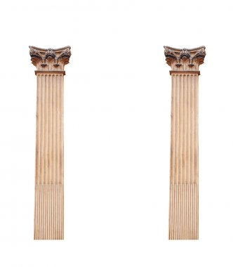 two old architectural columns isolated on white background