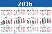Kalendář 2016. Vektor ruské
