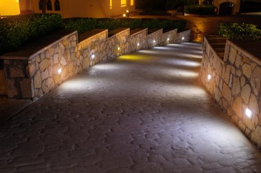Night lighting path for walks in the hotel