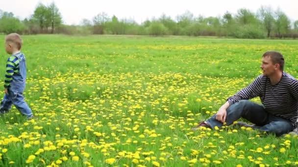 malý chlapec trhá květiny