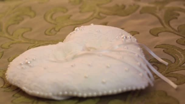 beautiful pillow for rings in the form of heart