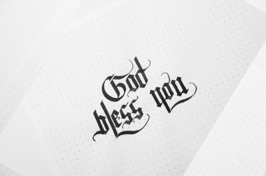 Text god bless you on the paper note texture