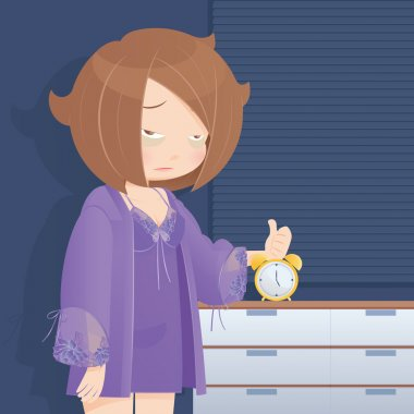 Drowsy girl waking up in the morning, cartoon, vector
