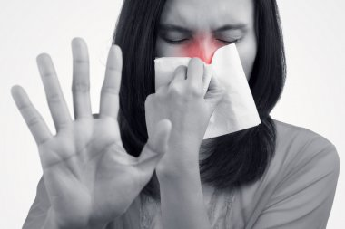 Asian caucasian woman with flu, Cold, Concept with Healthcare An