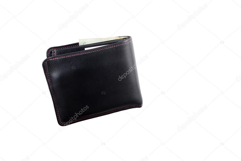 eb5176d65f Μαύρο φυσικό δερμάτινο πορτοφόλι που απομονώνονται σε λευκό φόντο. Ακριβά ανδρικό  πορτοφόλι closeup — Εικόνα από ...
