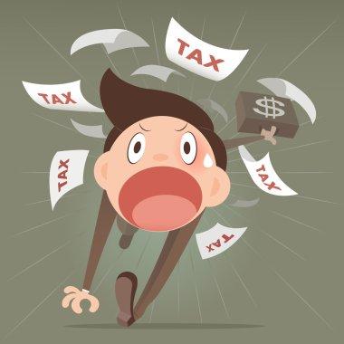 Businessman running away from tax