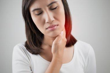Sore throat woman, lymph node at neck