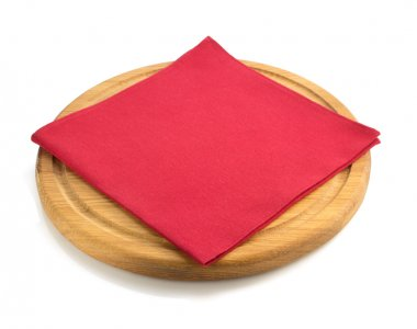 wooden tray and napkin on white
