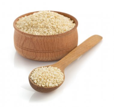Sesame seeds on white