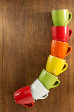 empty ceramic colorful cups