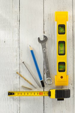 tools and instruments on wood