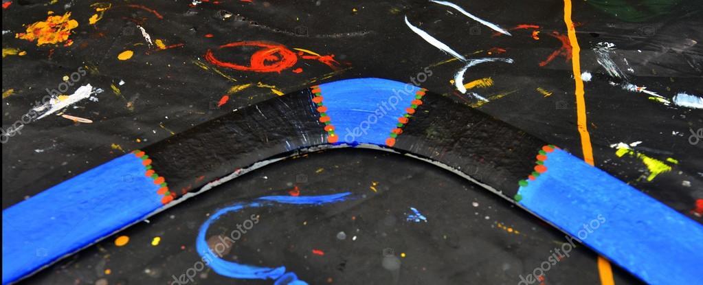 Aboriginal Boomerang Art Dot Painted