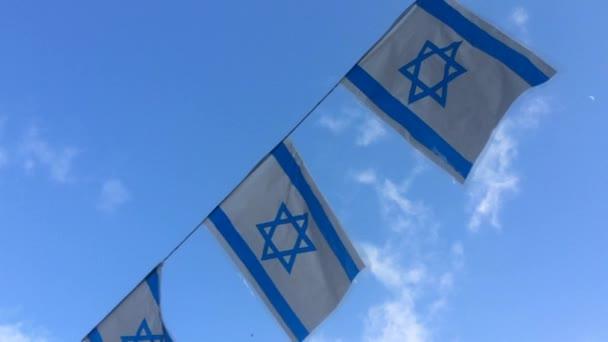 Israel Flags Waving In The Wind