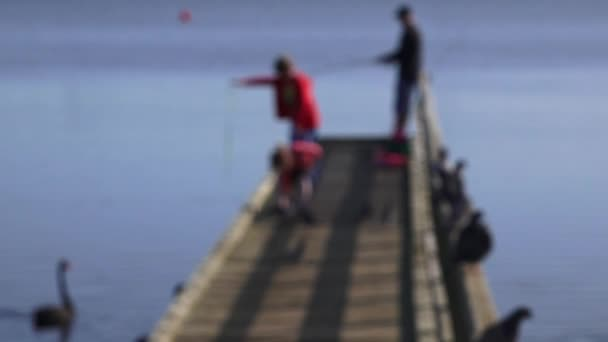 Dad and two children fishing from a pier