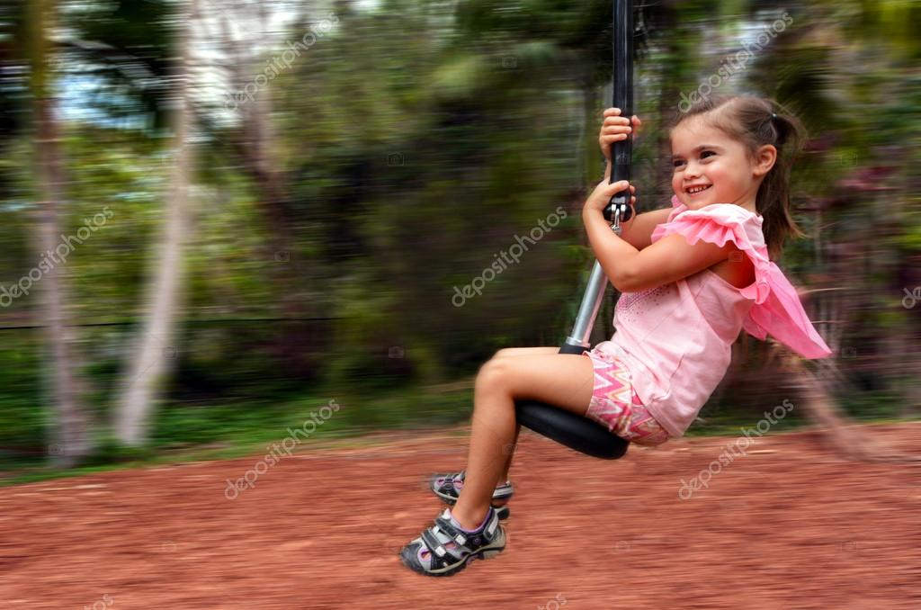 Child rids on Flying Fox