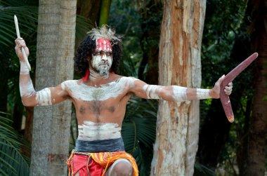 Portrait of one Yugambeh Aboriginal warrior man